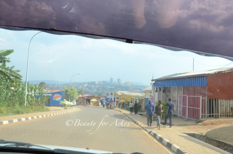 Downtown Kigali in the distance on the hilltop!